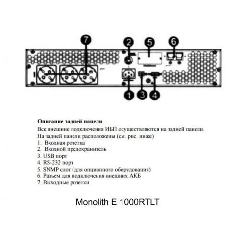 Inelt Monolith  E 1000RТLT (2U, внешние АКБ 24В, ЗУ 1-6А)